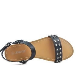 Black flat sandal with studs