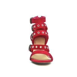 Red sandal with buckled bridle