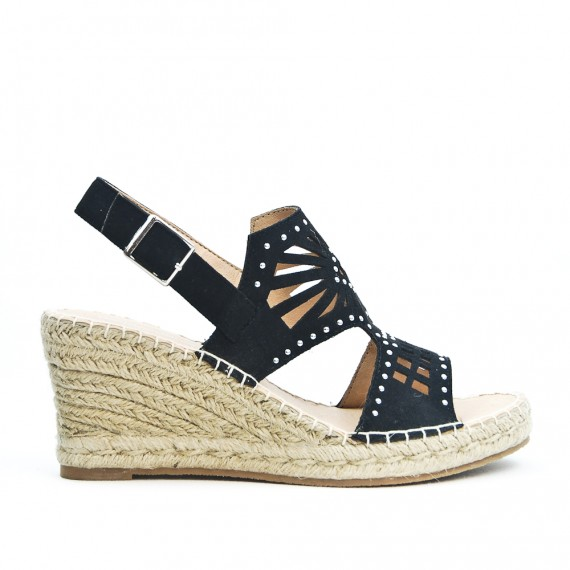 Heel Black Wedge Rope Sandal Braided With CoWBdrxe