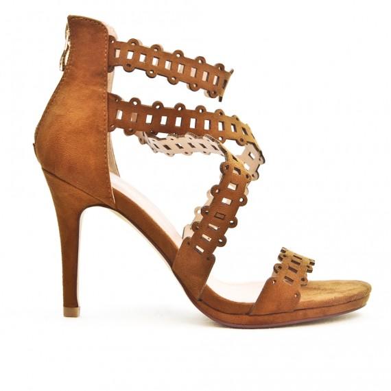 sandale camel talon haut