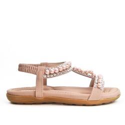 Sandale enfant rose ornée de perle
