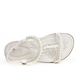 Sandale enfant blanche ornée de perle