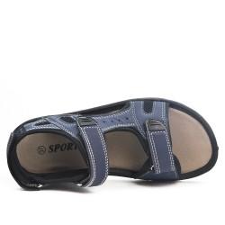 Sandale enfant bleu à scratch