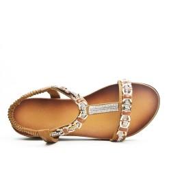 Sandale camel ornée de bijoux