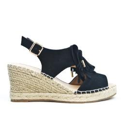Black faux suede wedge sandal