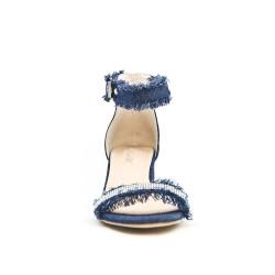 Sandale en jean bleu ornée de strass