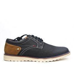 Two-tone faux leather lace-up derby