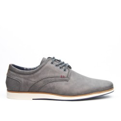 Derby gray faux leather lace