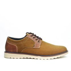 Camel Derby faux suede textured lace-up
