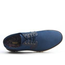 Derby bleu en simili daim texturé à lacet