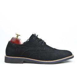 Richelieu black faux suede lace