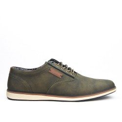 Green derby faux leather lace