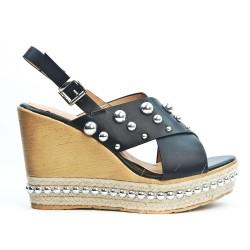 Sandale compensé noire à perle