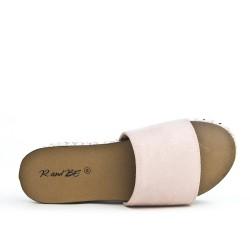 Claquette rose avec plateforme confort