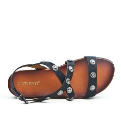 Sandale noire en simili cuir avec plateforme