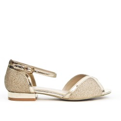 Gold sequined sandal