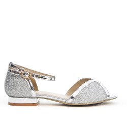 Silver sequined sandal