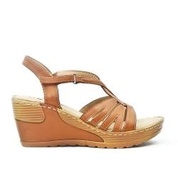 Sandale confort camel à talon compensé