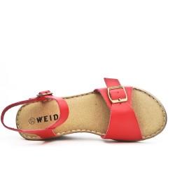 Sandale confort rouge à bride bouclée