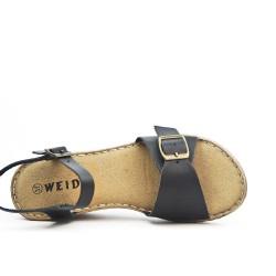 Sandale confort noire à bride bouclée