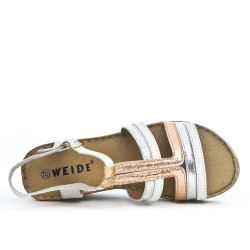 Sandale confort tricolore en simili cuir