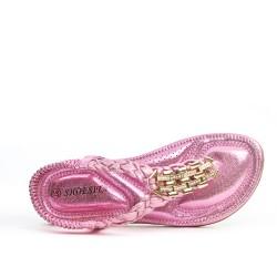 Sandale rose à bride tressée