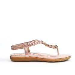 Sandale dorée à bride tressée