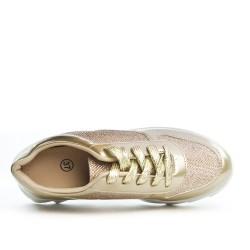 Basket dorée en bi-matière à lacet