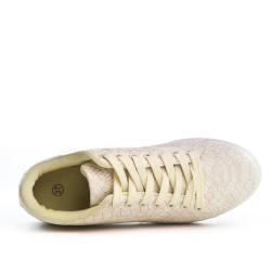Basket beige imprimée croco à lacet