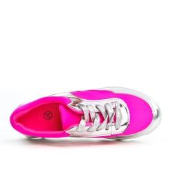 Fushia bi-material lace-up sneaker