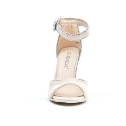 Sandale beige en simili daim à talon