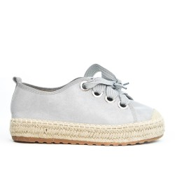 Gray espadrille in faux suede with lace