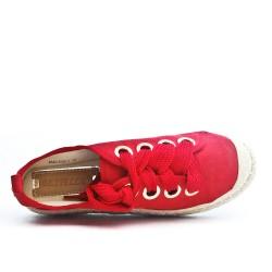Espadrille rouge en simili daim à lacet