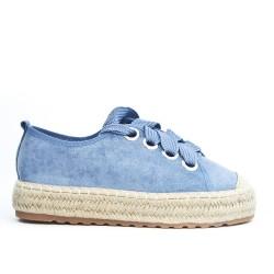 Espadrille bleu en simili daim à lacet