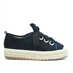 Black espadrille in faux suede with lace