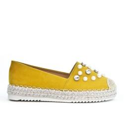 Espadrille jaune en simili daim orné de perle