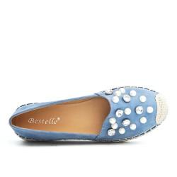 Espadrille bleu en simili daim orné de perle