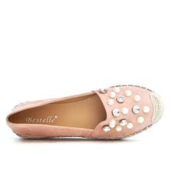 Espadrille rose en simili daim orné de perle