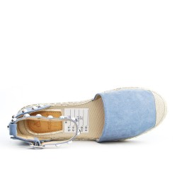 Espadrille bleu en simili daim orné de clous