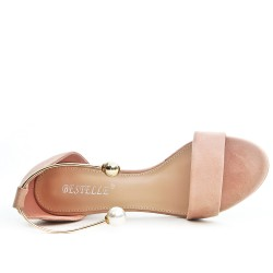 Pink imitation suede sandal with jewels