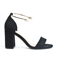 Black imitation suede sandal with jewels