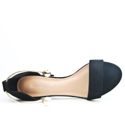 Sandalia de ante imitación negra con joyas