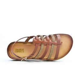 Sandale confort marron ornée de strass