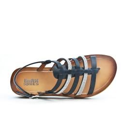 Sandale confort noire ornée de strass