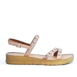 Sandale confort rose ornée de cous