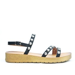 Sandale confort noire ornée de cous