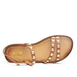 Sandale confort marron ornée de cous