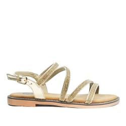 Sandale confort dorée ornée de strass