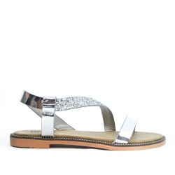 Sandale confort argent à semelle pailletée