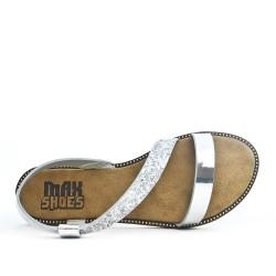 Sandale argent à semelle pailletée